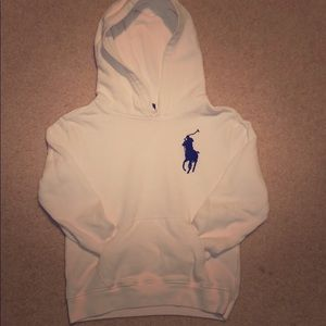 White Polo hoodie with navy horse